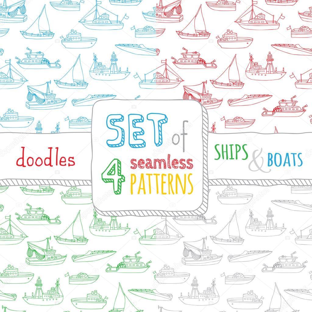 conjunto de cuatro patrones náuticos sin costura — Vector de stock ...