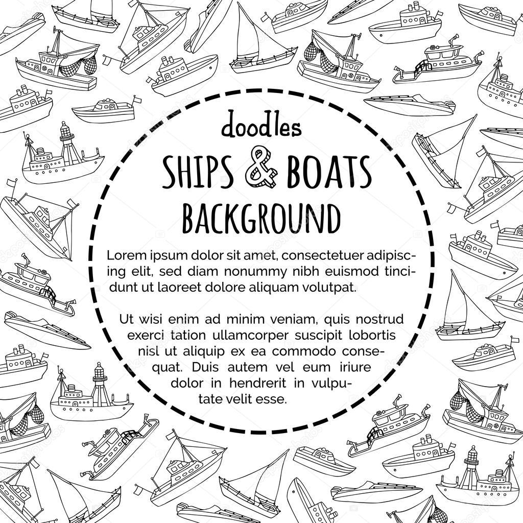 Vector doodles fondo de barcos y embarcaciones — Archivo Imágenes ...