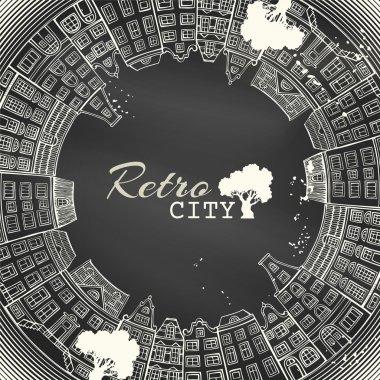 "Картина, постер, плакат, фотообои ""Меловой круг городской пейзаж. "", артикул 73531019"