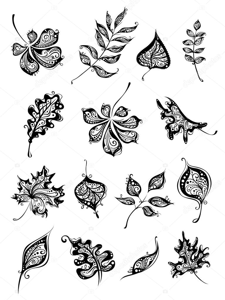 Set of vintage leaves.