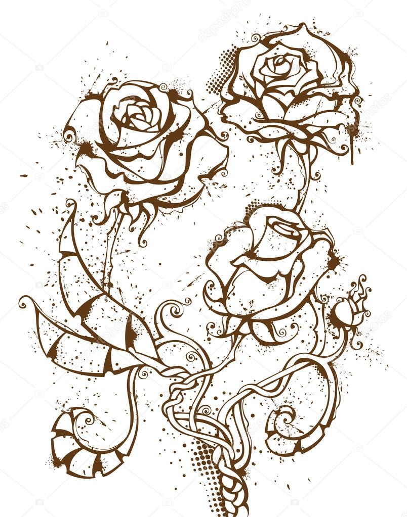 Grunge ink roses.