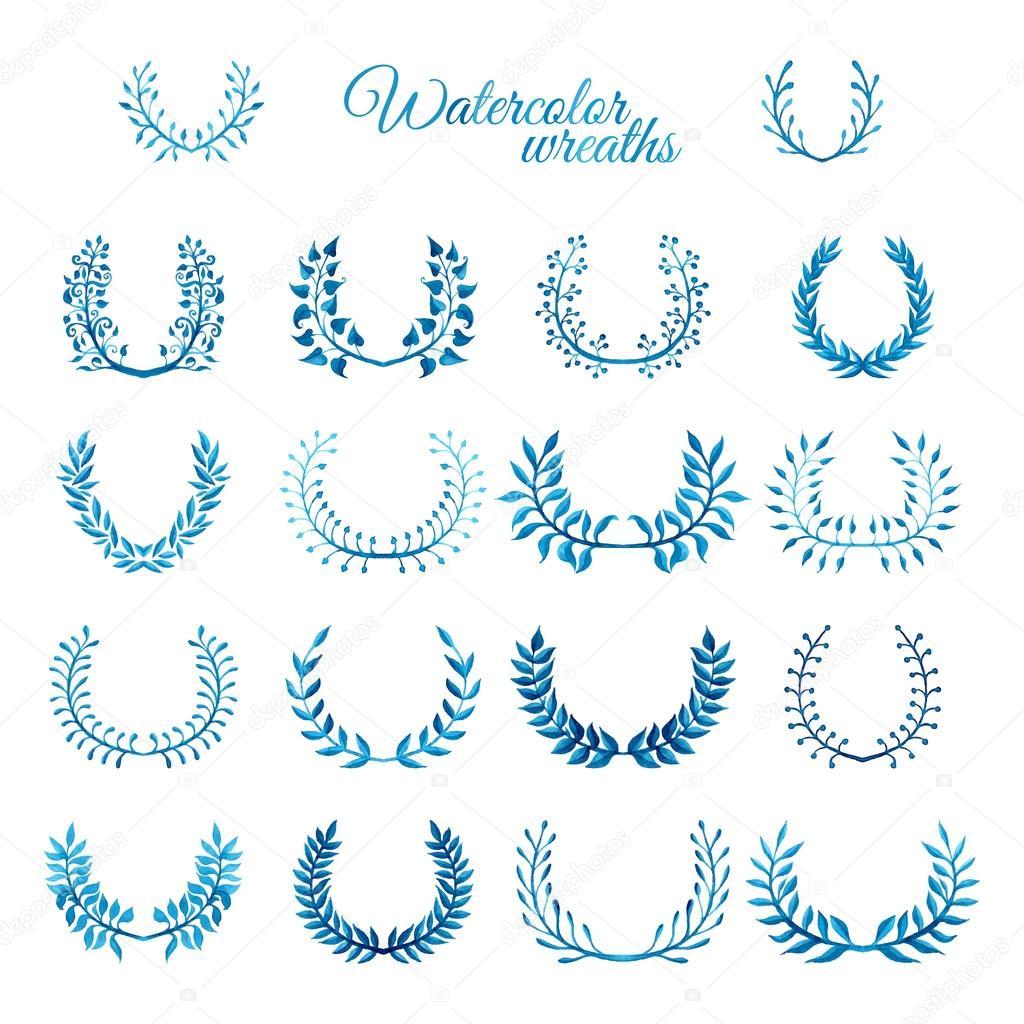 Vector set of blue watercolour wreaths.