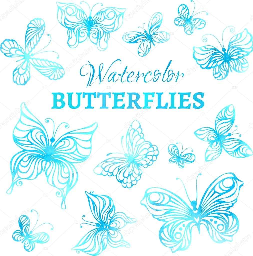 Vector set of watercolor butterflies.