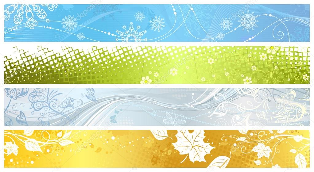 Set of banners of four seasons.