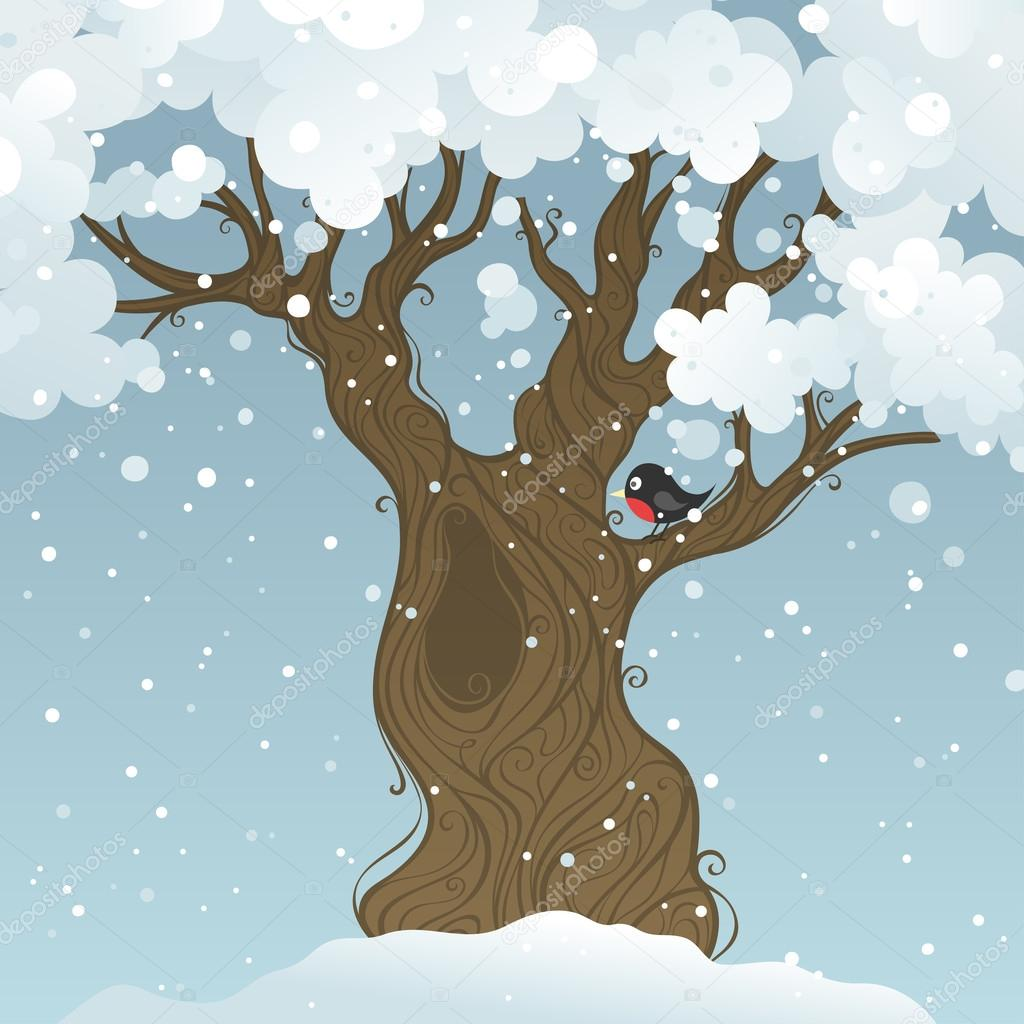 Winter tree background.