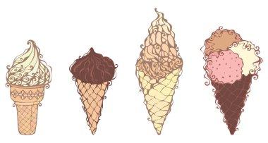 Ornate ice-creams on white background