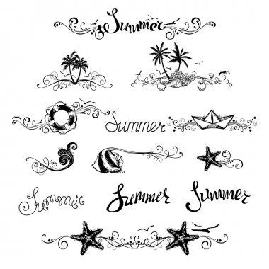 Set of summer design elements