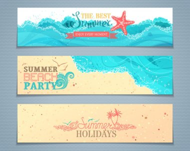 Vector set of summer banners.