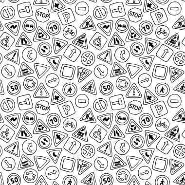 Seamless pattern of road signs.