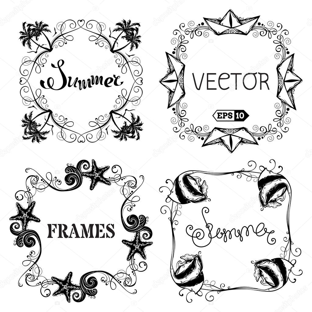 Vector set of vintage summer frames.