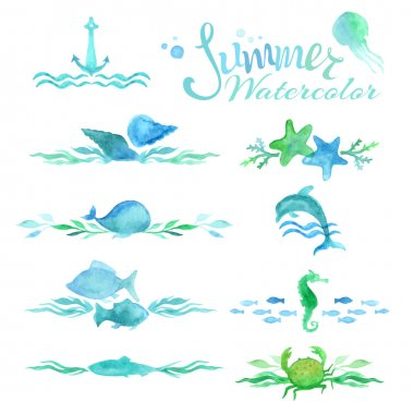 watercolor ocean page decorations and dividers.