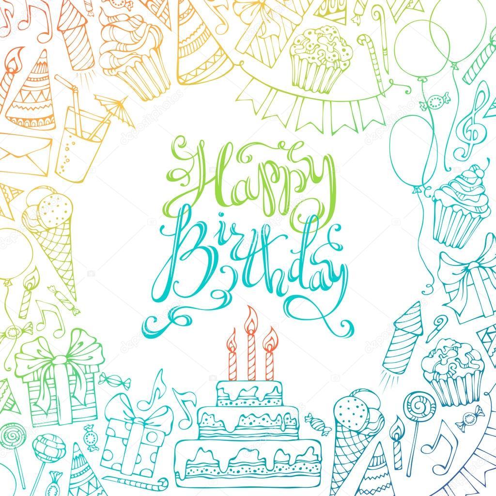 Tarjeta Del Feliz Cumpleaños Invitación Vector De Stock