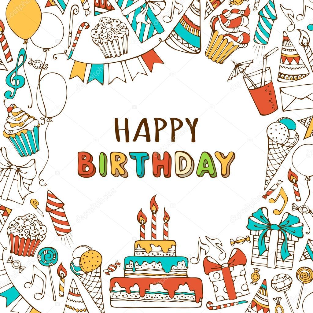Tarjeta Del Feliz Cumpleaños Invitación Archivo Imágenes