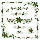 Weihnachtsblattteiler und Dekorationen.