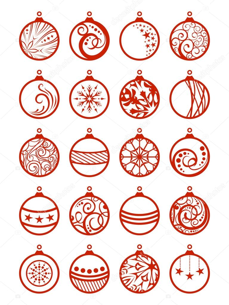 Disegni Di Palline Di Natale.Set Di Palline Di Natale Vettoriali Stock C Maljuk 83574796