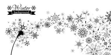 Winter and Summer. Winter Dandelion Background.