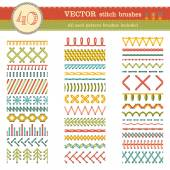 Fotografie Vector set of seamless stitch brushes.