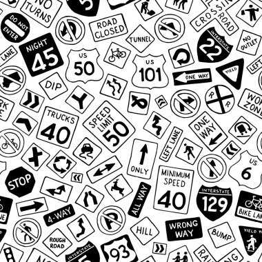 Vector hand-drawn traffic signs background. Boundless texture can be used for web page backgrounds, wallpapers, wrapping papers, invitation, congratulations and children designs. clip art vector