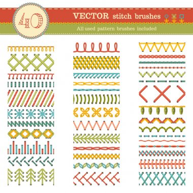 Sewing patterns, seams, borders, page decorations and dividers isolated on white background. All used pattern brushes included. stock vector