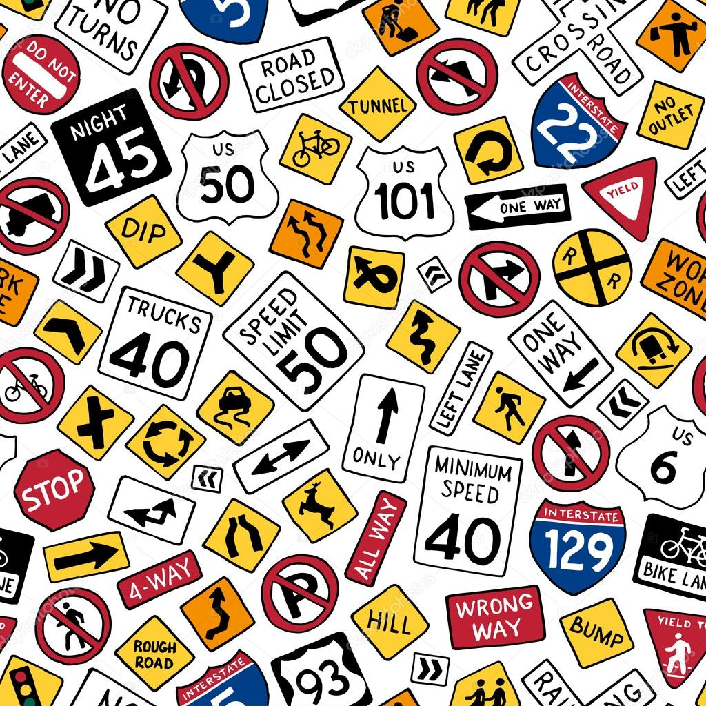 cartoon american road signs ストックベクター maljuk 87352262