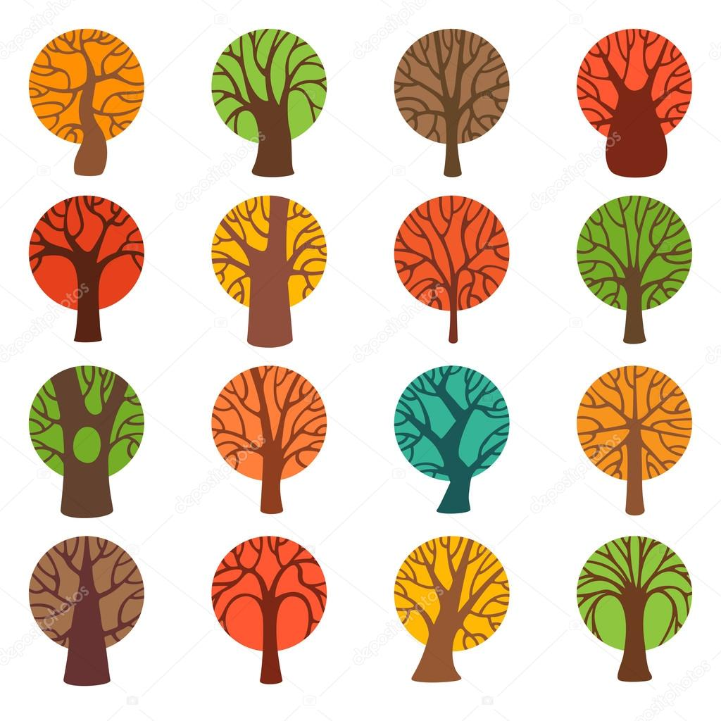 Set of colourful autumn tree icons.