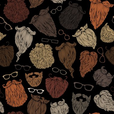 hipster beards and eyeglasses.