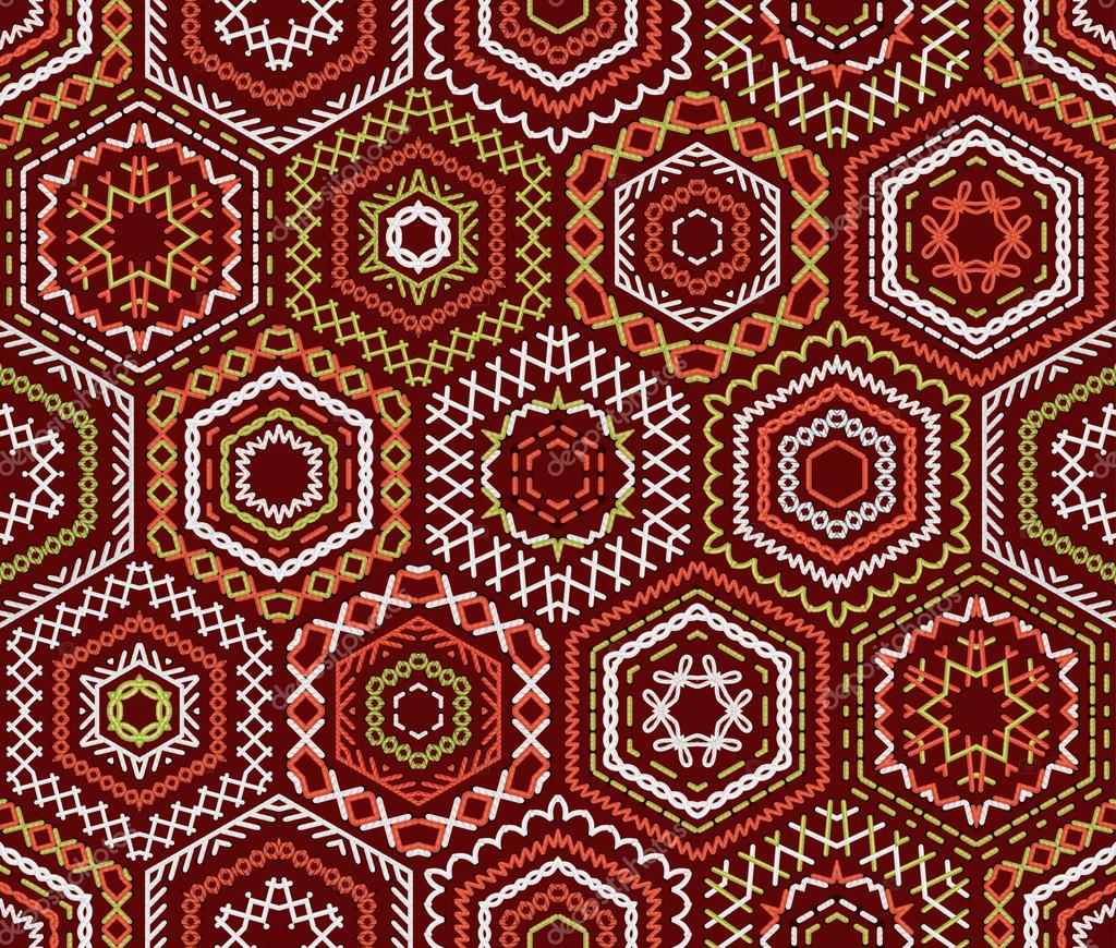 Seamless ethnic embroidery pattern — stock vector