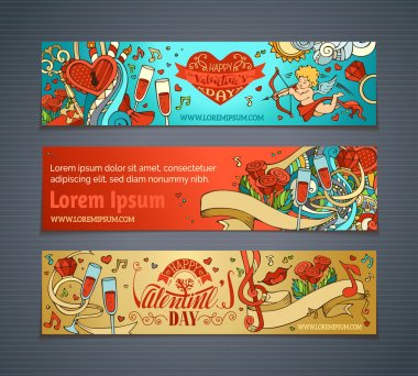 Set of colourful cartoon romantic banners. Cupid, hearts, music notes, gift, balloons, ribbon, ring, roses, lock and key, hand-written lettering. Vector web templates. clip art vector