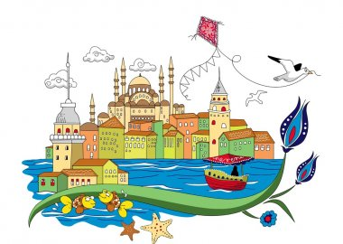 City istanbul vector vintage on the white bagkground stock vector