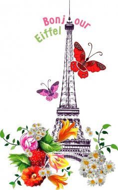 Vector bonjour eiffel tower with roses and butterflies