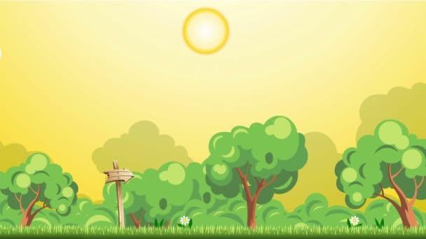 Animace 2D ilustrace krajiny v kresleném stylu.