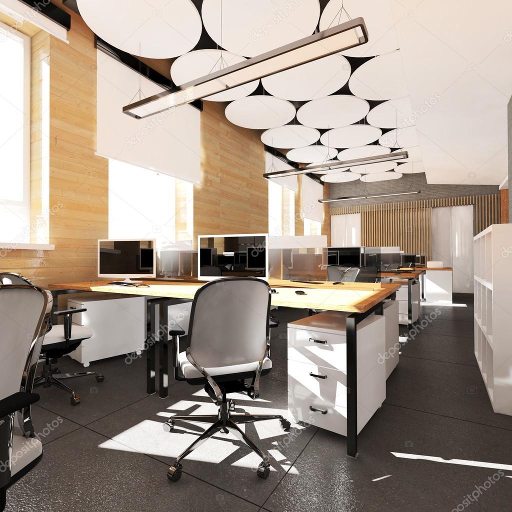 Lugar de trabajo interior vacío oficina moderna — Foto de stock ...