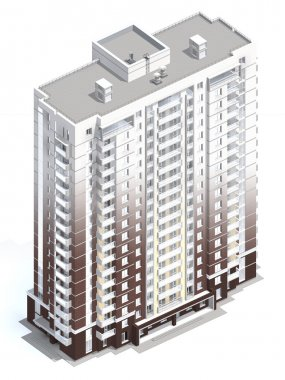 3d rendering of modern multi-storey residential building isolated on white stock vector