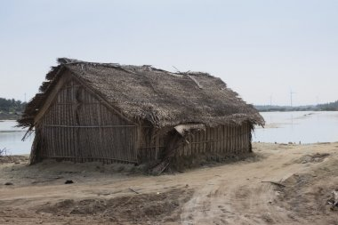 fisherman house and wind turbines in Kalpitiya, Sri lanka
