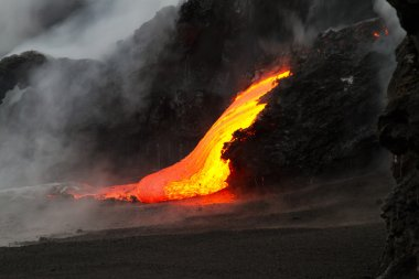 Lava flow at night