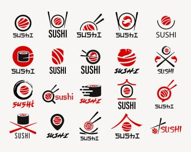 Sushi vector logo set. Graphic symbol with fish cut into sushi and rolls icon
