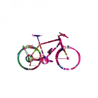 Colorful bicycle with butterflies background