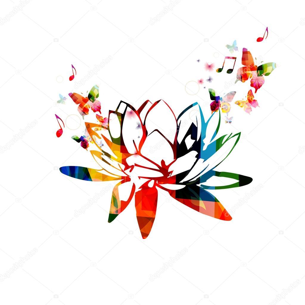 Diseño De La Flor De Loto Colorida Archivo Imágenes Vectoriales