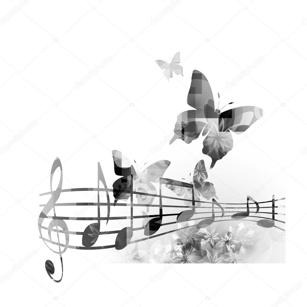music background with notes and  butterflies