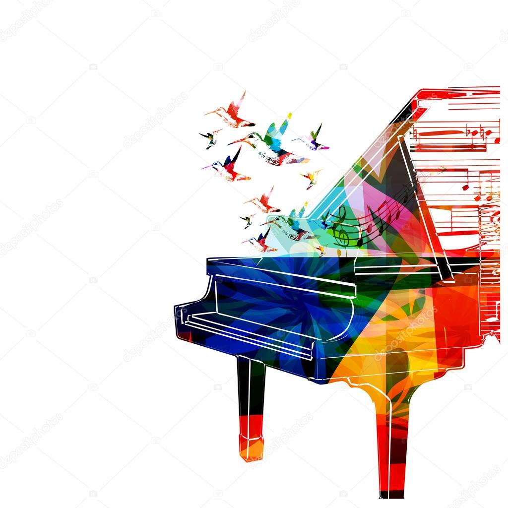 Colorful Piano Design With Hummingbirds Vector By Abstract412