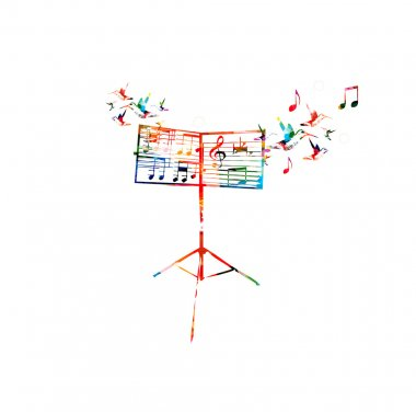 Colorful music stand with hummingbirds