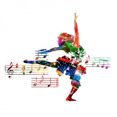 colorful music background with dancer