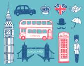 Hand drawn England icons set