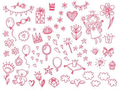 Hand drawn princess icons set