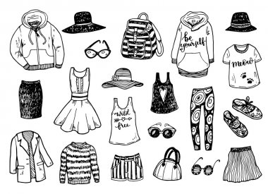 Hand drawn fashion clothes pattern
