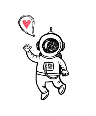 illustration with doodle astronaut