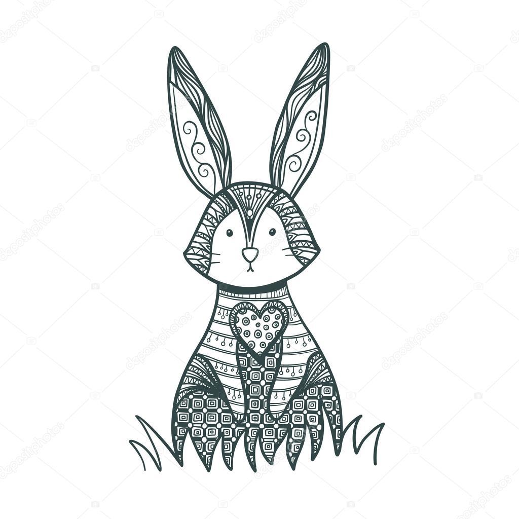 Dibujo De Conejo De Zentangle Para Colorear Página Archivo