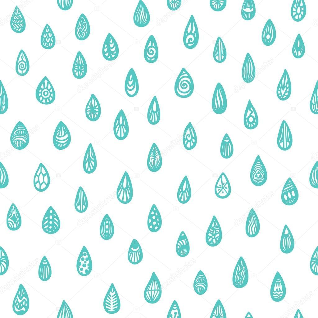 patrón sin fisuras con las gotas de lluvia zentangle — Vector de ...