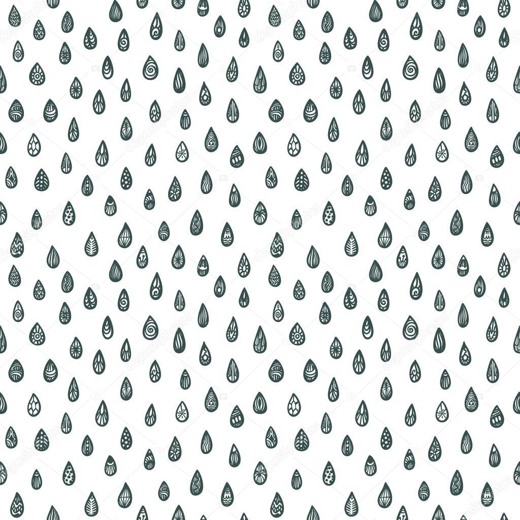 patrón sin fisuras con las gotas de lluvia zentangle — Archivo ...