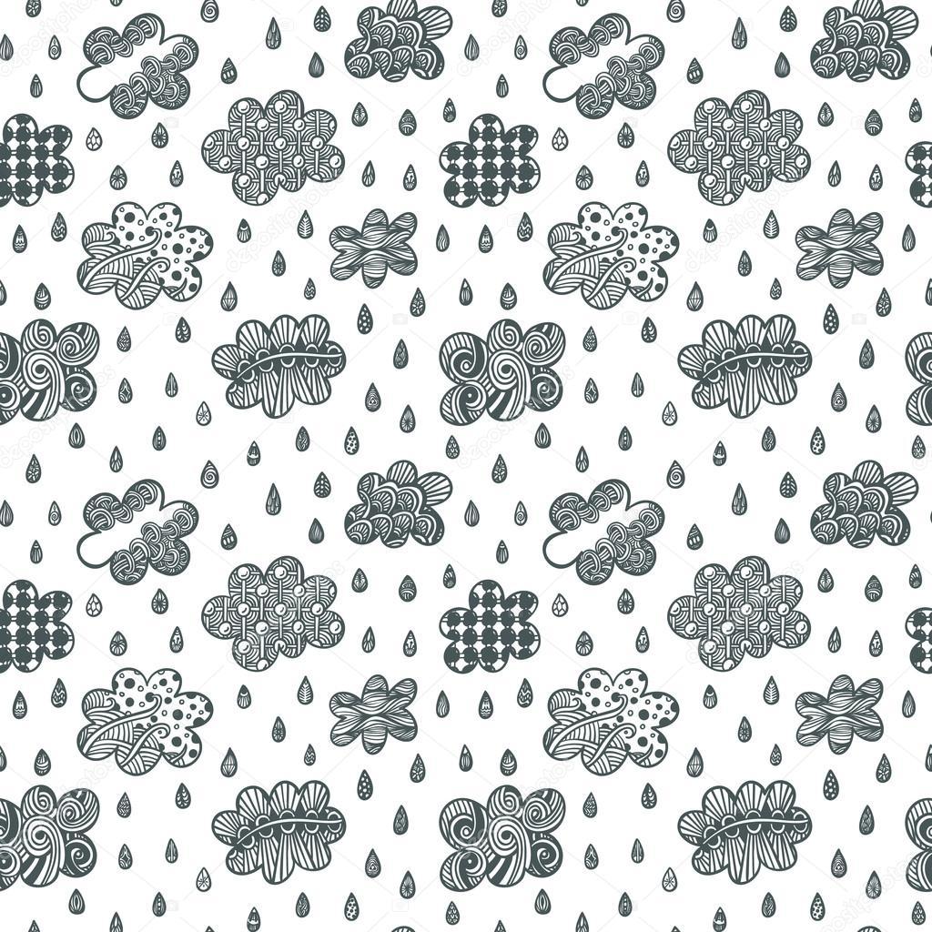 Página del libro con las nubes y las gotas de lluvia — Vector de ...